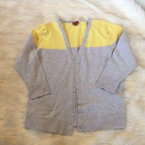 Merona XL Heather Grey and Yellow Cardigan